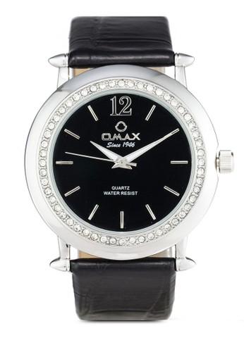 Omax esprit高雄門市AB06 閃鑽圓框仿皮手錶, 錶類, 其它錶帶