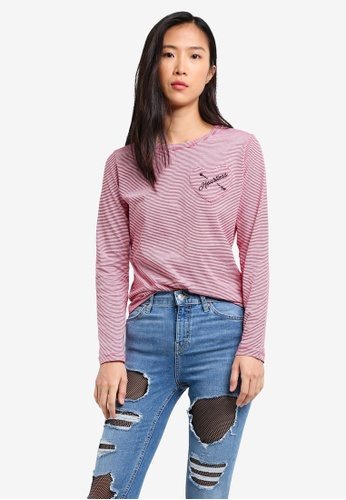 TOPSHOP red Heartless Long Sleeve Striped Top TO412AA0RZEQMY_1