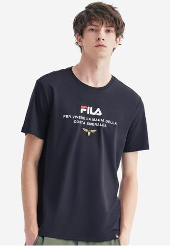 FILA navy FILA Logo Animal Embroidery Cotton T-shirt EEF5DAA0309488GS_1
