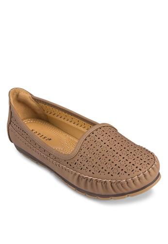 雕花平底懶人鞋, 女鞋, 船型zalora鞋鞋