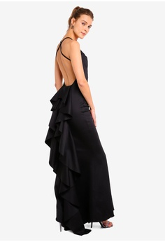 d657d8f88b1b7e Goddiva black Fishtail Maxi Dress With Open Back And Waterfall Frills  945D0AAE39E04EGS 1
