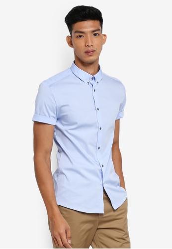 River Island 藍色 Poplin Short Sleeve Shirt 73C0FAAE277E9AGS_1