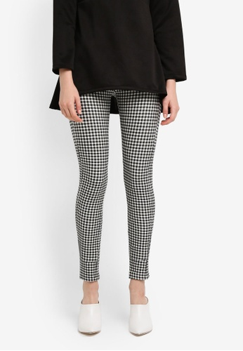 Zariya black Checkered Print Long Pants 18643AA7A48E00GS_1