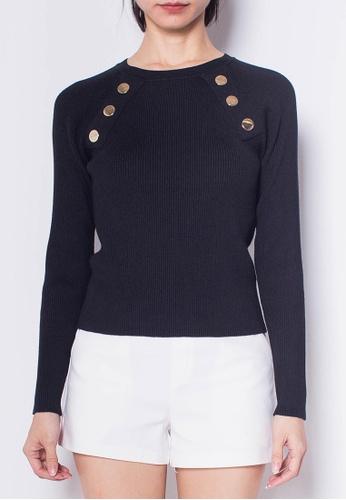 SUB black Women Golden Buttons Long Sleeve Knit Top 763E9AA565CE52GS_1