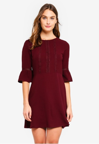 Brave Soul red Mid Length Sleeve Dress With Crochet Trim E3E65AA084CA61GS_1