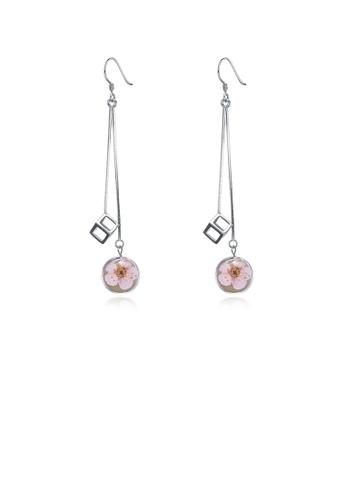 Glamorousky silver 925 Sterling Silver Elegant Sweet and Romantic Flower Long Tassel Earrings 38A30AC1FF6EB8GS_1