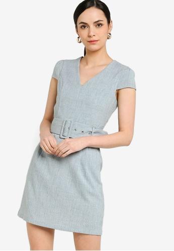 ZALORA WORK blue Cap Sleeve Mini Dress 1F221AA31A4810GS_1