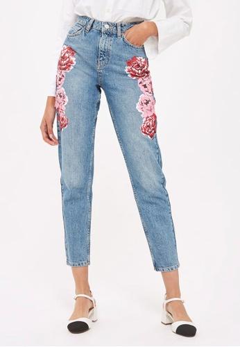 TOPSHOP blue MOTO Peony Print Mom Jeans TO412AA0S4HEMY_1