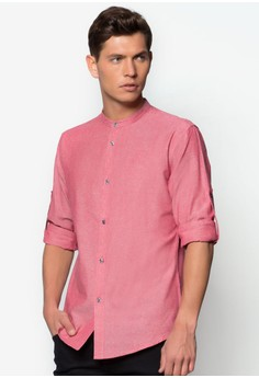Linen Look Mandarin Collar Long Sleeve Shirt