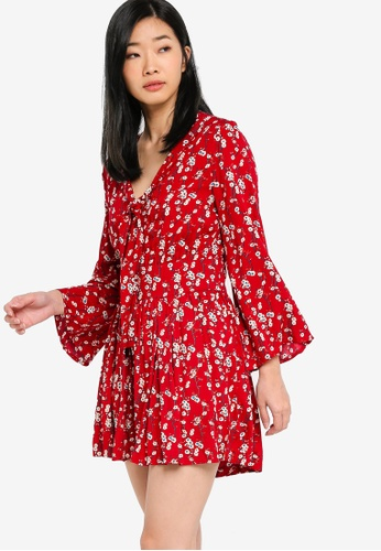 Something Borrowed red Tie Neck Playsuit 8A38EAA50D4064GS_1