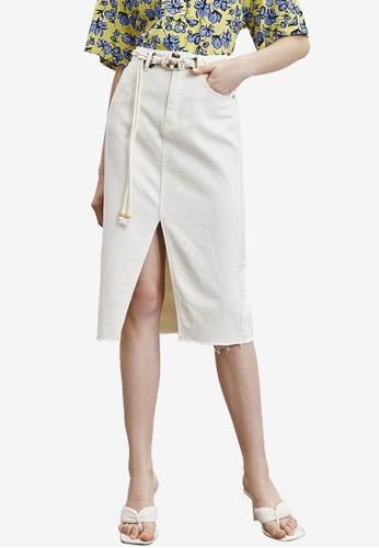 URBAN REVIVO white Belted Midi Skirt 6701DAAB1F4859GS_1