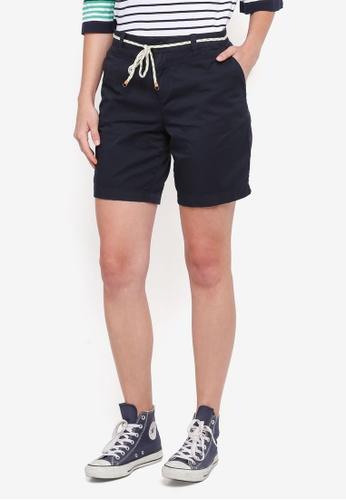 ESPRIT navy Cord Belt Woven Regular Shorts 81A58AA140DF41GS_1