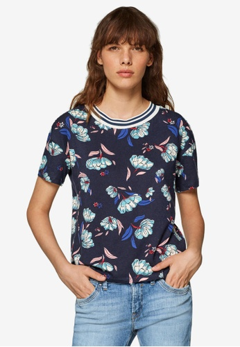 ESPRIT multi and navy Floral Printed Jersey Tee B0163AA40C7FC1GS_1