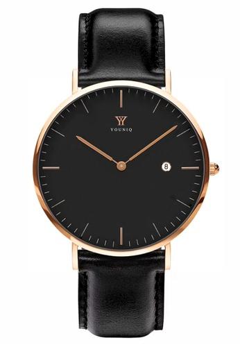 YOUNIQ black and gold YOUNIQ Men Malbec Black Dial Rosegold Quartz Sapphire Crystal Genuine Leather Watch C85C6ACA1E3E53GS_1