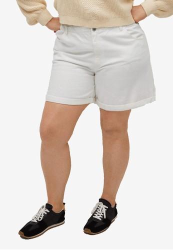 Violeta by MANGO white Plus Size Paperbag Denim Shorts 533BBAAD1C8E80GS_1