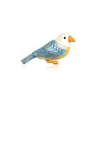 Glamorousky silver Fashion Simple Enamel Blue Bird Brooch F193DAC853984CGS_1