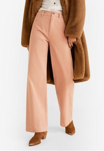 MANGO pink Corduroy Straight Trousers 5405AAADF14132GS_1