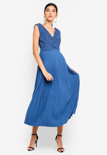 Little Mistress blue Denim Pleat Midaxi Dress 76FF1AA8D40987GS_1