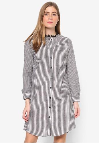 Natalie 條紋長袖襯衫連身裙zalora退貨, 服飾, 洋裝