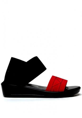 Ohrelle black and red Chinky Garterized Demi-Wedge Sandals by Floppies by Ohrelle BC21DSH839F568GS_1