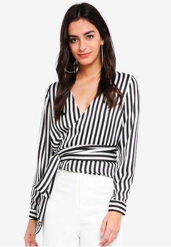 54a2af58de43a Buy MISSGUIDED Multi Wrap Tie Side Stripe Blouse Online on ZALORA ...