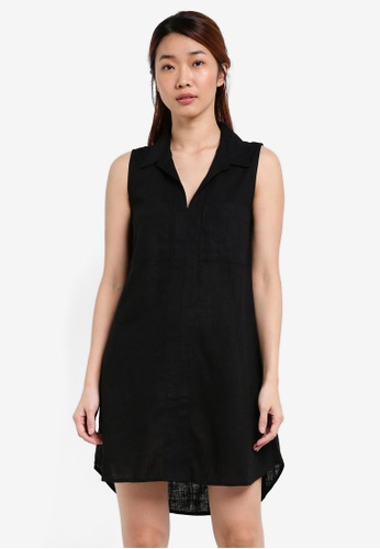 Something Borrowed black Sleeveless Utility Shirt Dress B6BA8AAC131ED1GS_1