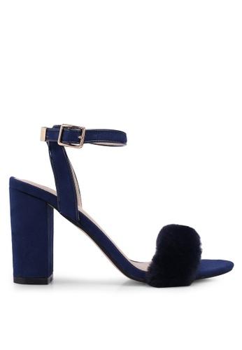 ZALORA 海軍藍色 一字帶刷毛麂皮粗跟鞋 02F18SHFDC1A5FGS_1