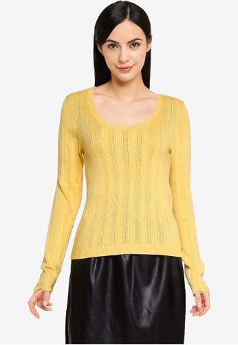 Vero Moda yellow Khaiya Scoop Neckline Sweater 904DBAAFBEA20DGS_1