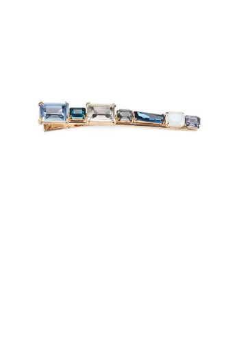Glamorousky blue Simple and Fashion Plated Gold Geometric Strip Blue Cubic Zirconia Hair Clip 0BBF0AC21EF915GS_1