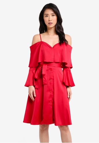 ZALORA red Cold Shoulder Capelet Dress 9BAFAAA1E6DF60GS_1