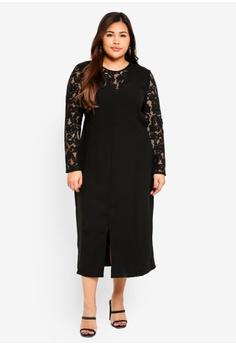e22b33c08d06c ELVI black Plus Size Portia Lace Insert Column Dress E3502AA34F1CBEGS 1