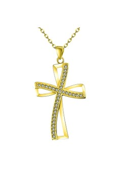 Treasure by B&D N066-A Plated Curve Shape Cross Pendant Necklace