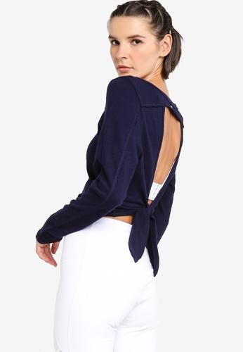 Lorna Jane navy Open Back Cropped Long Sleeve Top C9D91AA12063CDGS_1