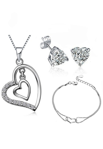 3a3f5f3e4971f YOUNIQ Heart to Heart 925 Sterling Silver Necklace Pendant with Cubic  Zirconia, Earrings & Bracelet Set