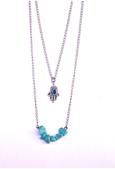 Turquoise and Hamsa Necklace