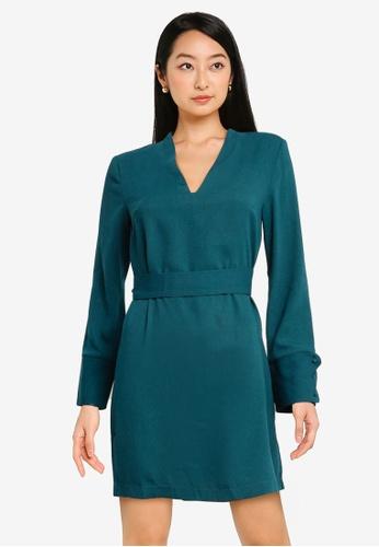 ZALORA BASICS green Scallop Cuff Detail Shift Dress 34F9CAA42A4FF8GS_1
