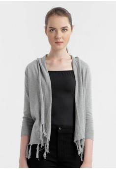 Calista Fringe Plain Cardigan in Light Grey