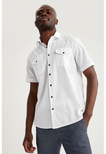 DeFacto white Man Woven Short Sleeve Shirt A7D54AA8FD82D0GS_1