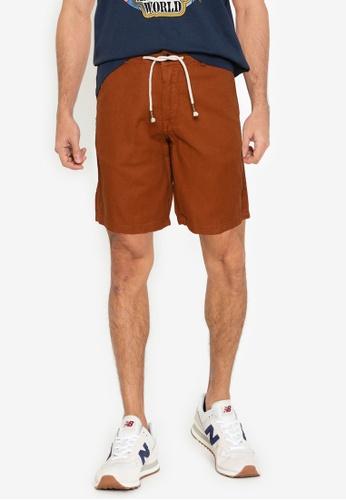 Springfield brown Rustic Linen Drawstring Bermuda Shorts E0551AAEDB444CGS_1