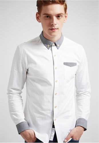 學院休閒。領袖口接格紋。長袖襯衫-036esprit高雄門市16-白色, 服飾, 格紋襯衫