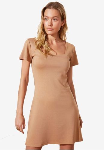 Trendyol brown Square Neck Knit Dress 17E5CAA55D3D29GS_1