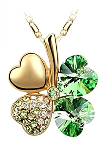 LOVENGIFTS green and gold LOVENGIFTS Lucky Pendant Necklace 18K Gold (Green) LO429AC37TJQMY_1