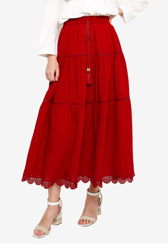 Hopeshow red Lace Panel Long Skirt 2D69FAAF69559BGS_1