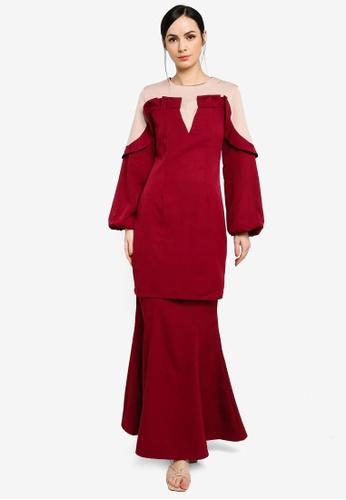 Zalia brown and red Ruffled Puff Sleeve Kurung 9D8AAAA5516333GS_1