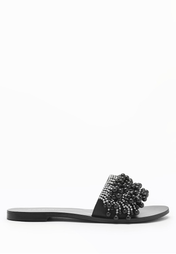 PAZZION black Embellished Pearl Sandals 87B1ASH3009EDEGS_1