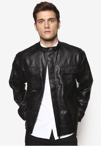 翻蓋口袋仿esprit暢貨中心皮夾克外套, 服飾, 外套