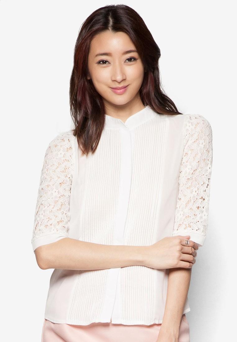 Lace Sleeve Chiffon Shirt With Stitching Detail