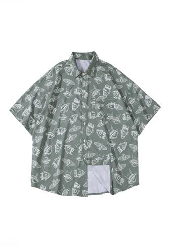 Twenty Eight Shoes green VANSA Full Print Space Element Short-sleeved Shirt  VCM-Sh1546 E1C4DAA7B49D1EGS_1