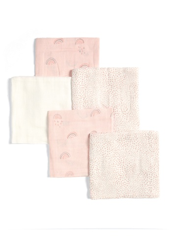 Mamas and Papas pink 5 Pack Muslin Squares - Rainbow Blanket and Wrappers F1CACKC2E23B3FGS_1