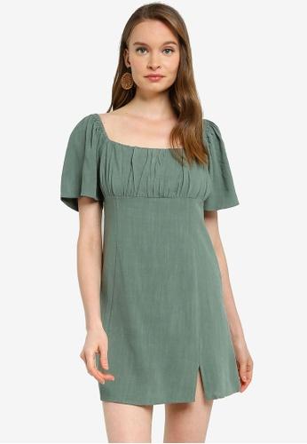 Mink Pink green Ruched Bust Mini Dress EC56BAAA49A06EGS_1